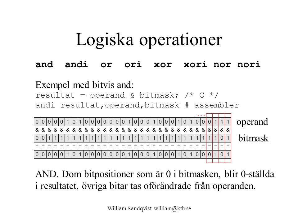 William Sandqvist william@kth.se Logiska operationer and andi or ori xor xori nor nori Exempel med bitvis and: resultat = operand & bitmask; /* C */ a