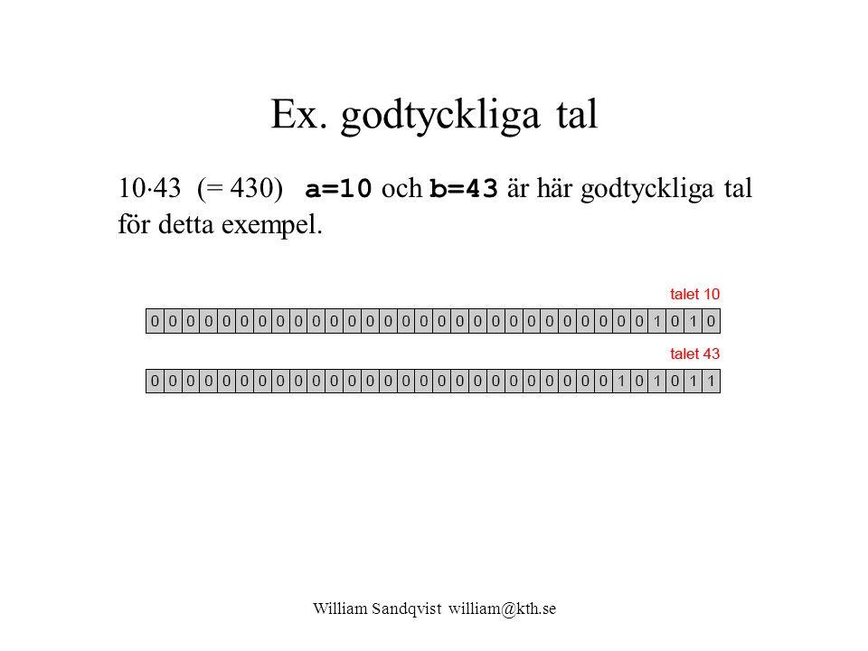 William Sandqvist william@kth.se Ex. godtyckliga tal 10  43 (= 430) a=10 och b=43 är här godtyckliga tal för detta exempel.
