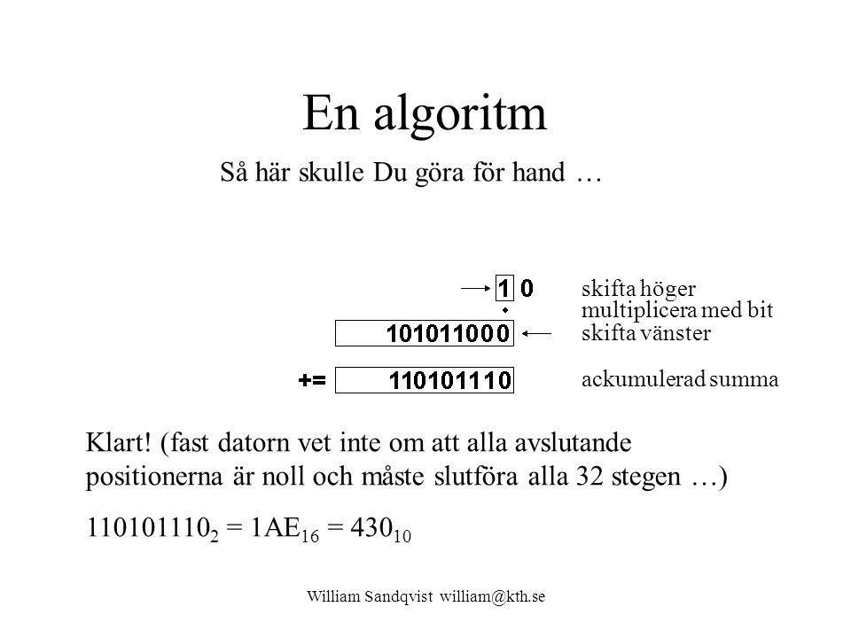 William Sandqvist william@kth.se En algoritm Klart! (fast datorn vet inte om att alla avslutande positionerna är noll och måste slutföra alla 32 stege