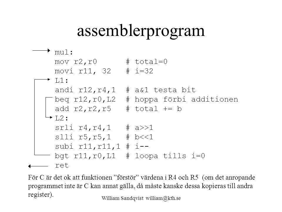 William Sandqvist william@kth.se assemblerprogram mul: mov r2,r0 # total=0 movi r11, 32 # i=32 L1: andi r12,r4,1 # a&1 testa bit beq r12,r0,L2 # hoppa