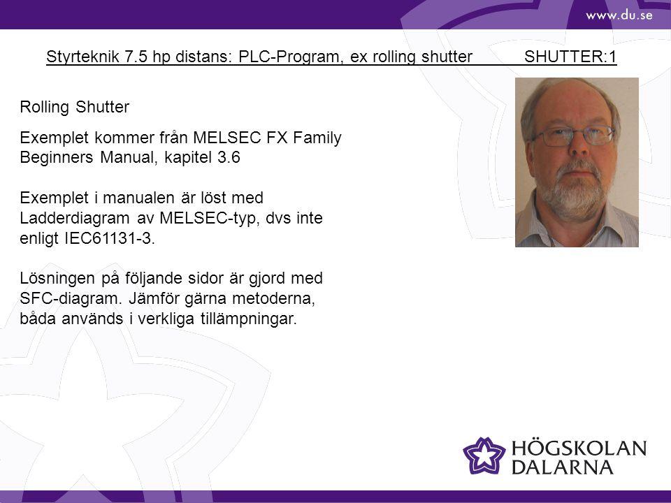 Styrteknik 7.5 hp distans: PLC-Program, ex rolling shutter SHUTTER:1 Rolling Shutter Exemplet kommer från MELSEC FX Family Beginners Manual, kapitel 3