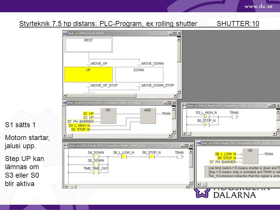 Styrteknik 7.5 hp distans: PLC-Program, ex rolling shutter SHUTTER:10 S1 sätts 1 Motorn startar, jalusi upp. Step UP kan lämnas om S3 eller S0 blir ak