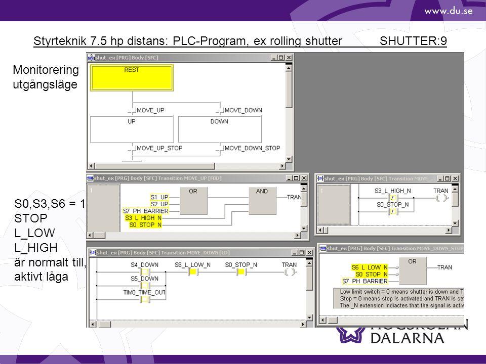 Styrteknik 7.5 hp distans: PLC-Program, ex rolling shutter SHUTTER:9 Monitorering utgångsläge S0,S3,S6 = 1 STOP L_LOW L_HIGH är normalt till, aktivt l