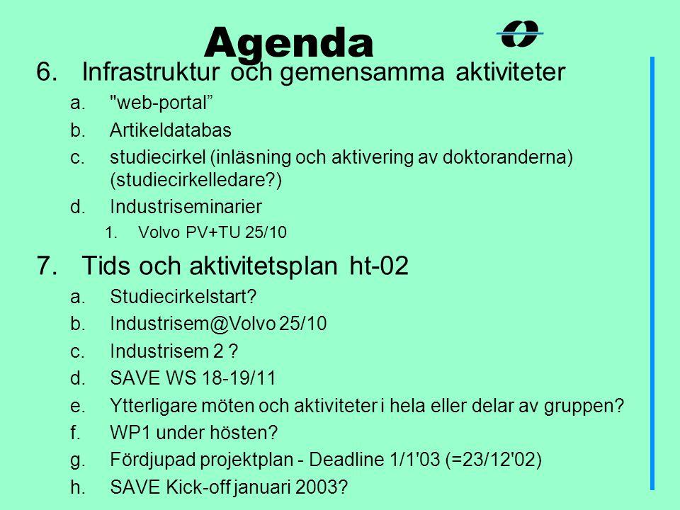 6.Infrastruktur och gemensamma aktiviteter a. web-portal b.Artikeldatabas c.studiecirkel (inläsning och aktivering av doktoranderna) (studiecirkelledare ) d.Industriseminarier 1.Volvo PV+TU 25/10 7.Tids och aktivitetsplan ht-02 a.Studiecirkelstart.
