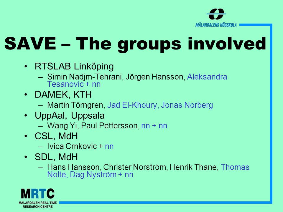 SAVE – The groups involved RTSLAB Linköping –Simin Nadjm-Tehrani, Jörgen Hansson, Aleksandra Tesanovic + nn DAMEK, KTH –Martin Törngren, Jad El-Khoury, Jonas Norberg UppAal, Uppsala –Wang Yi, Paul Pettersson, nn + nn CSL, MdH –Ivica Crnkovic + nn SDL, MdH –Hans Hansson, Christer Norström, Henrik Thane, Thomas Nolte, Dag Nyström + nn