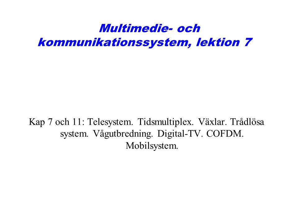 Multimedie- och kommunikationssystem, lektion 7 Kap 7 och 11: Telesystem. Tidsmultiplex. Växlar. Trådlösa system. Vågutbredning. Digital-TV. COFDM. Mo