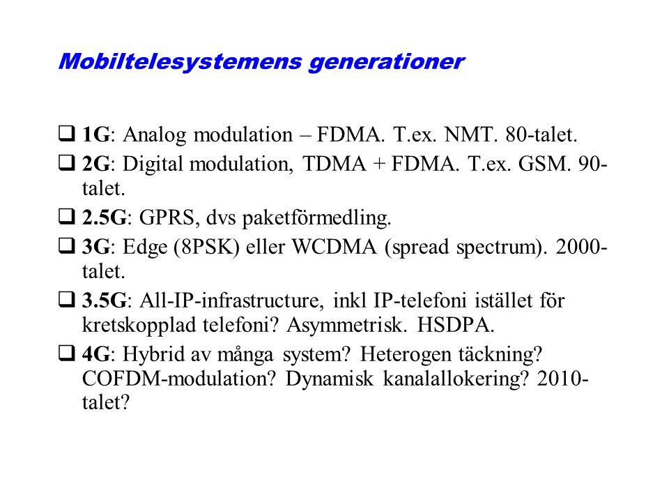 Mobiltelesystemens generationer q1G: Analog modulation – FDMA. T.ex. NMT. 80-talet. q2G: Digital modulation, TDMA + FDMA. T.ex. GSM. 90- talet. q2.5G: