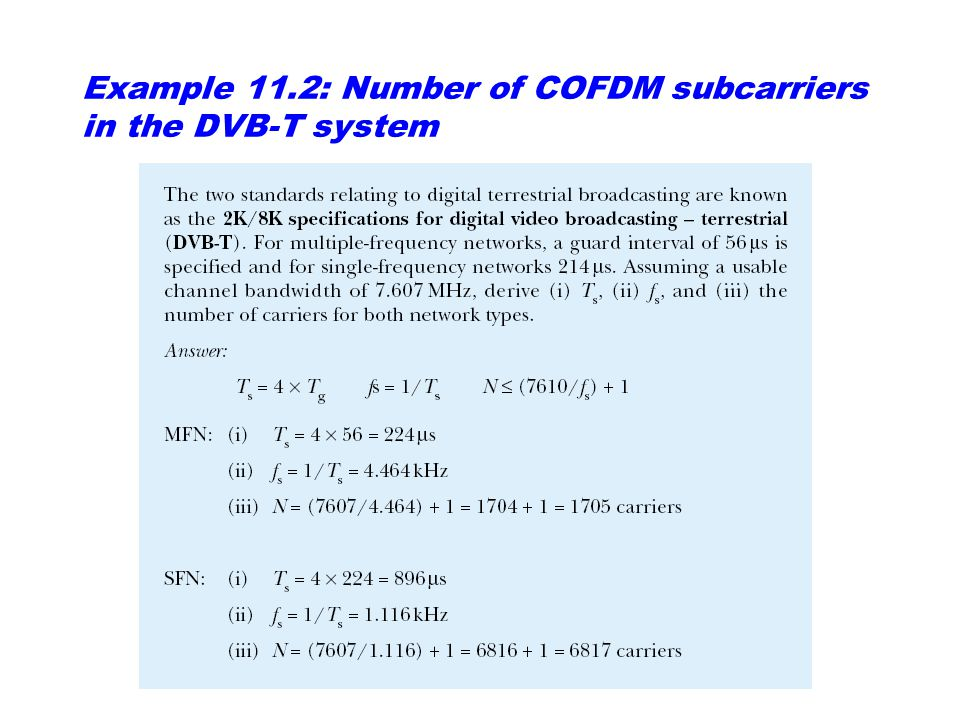Example 11.2: Number of COFDM subcarriers in the DVB-T system