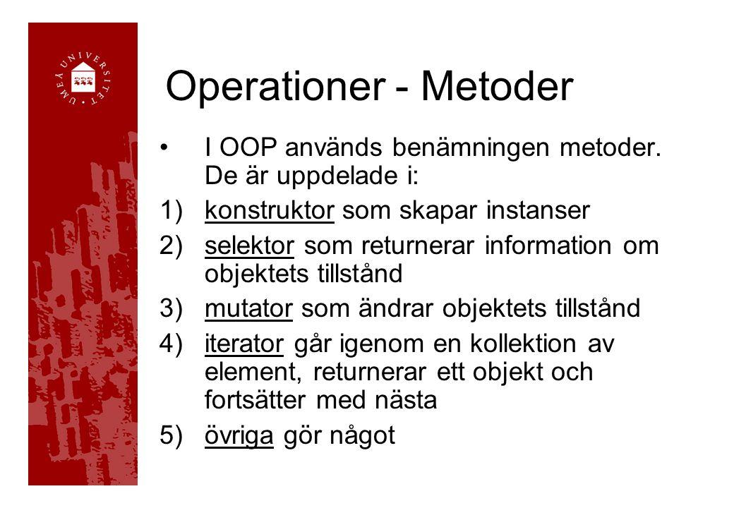Operationer - Metoder I OOP används benämningen metoder. De är uppdelade i: 1)konstruktor som skapar instanser 2)selektor som returnerar information o