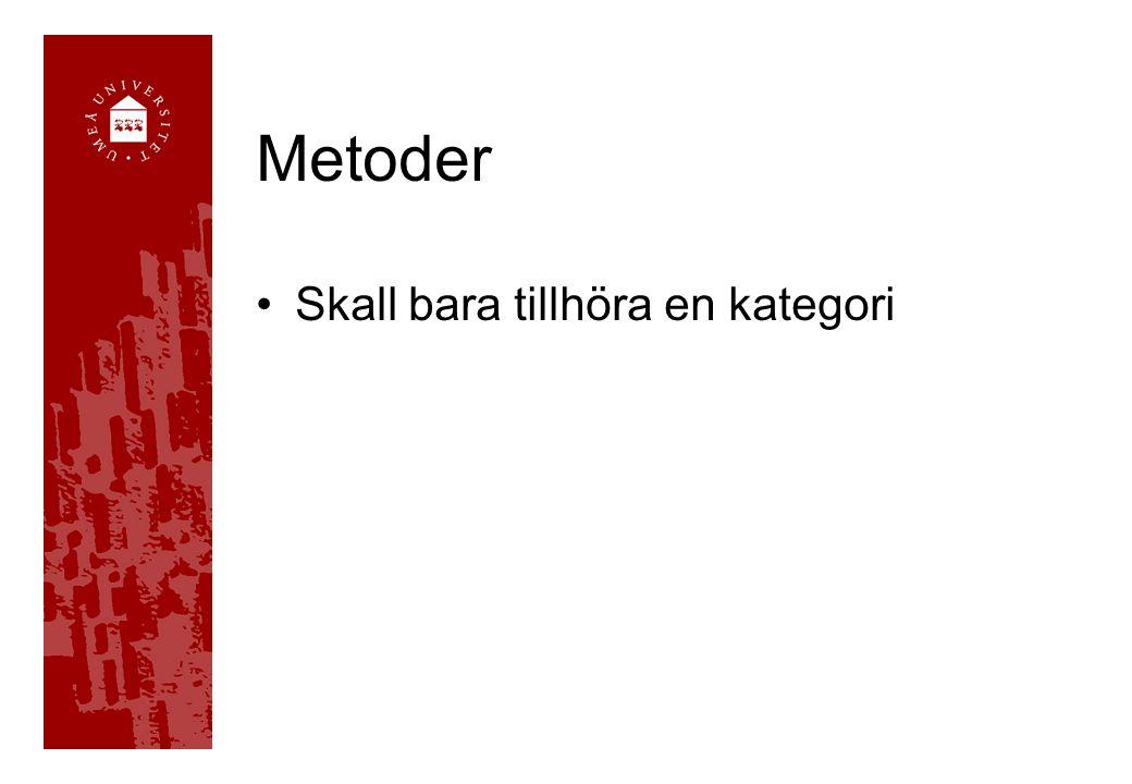 Metoder Skall bara tillhöra en kategori