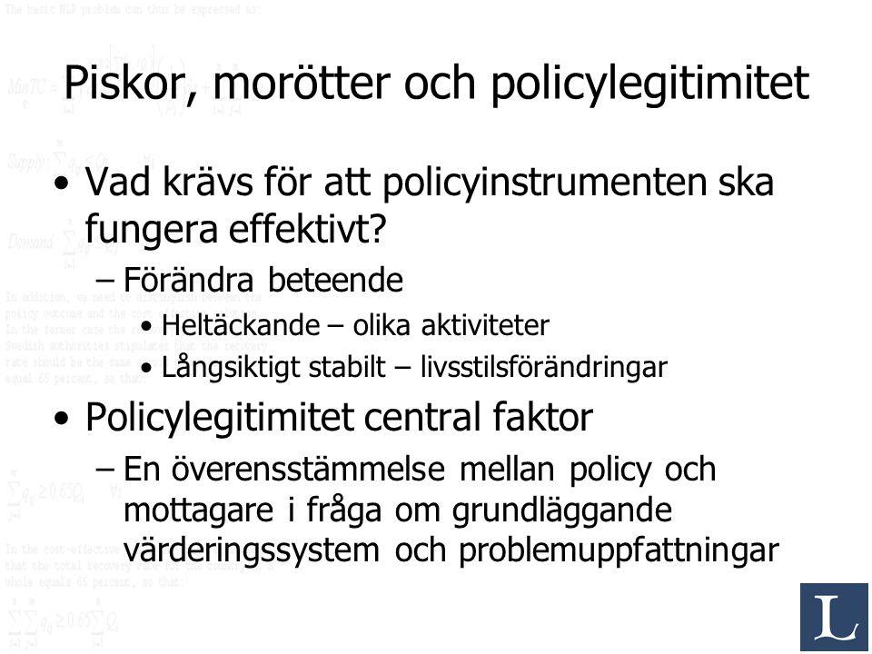 Piskor, morötter och policylegitimitet Vad krävs för att policyinstrumenten ska fungera effektivt? –Förändra beteende Heltäckande – olika aktiviteter