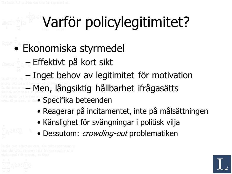Varför policylegitimitet? Ekonomiska styrmedel –Effektivt på kort sikt –Inget behov av legitimitet för motivation –Men, långsiktig hållbarhet ifrågasä