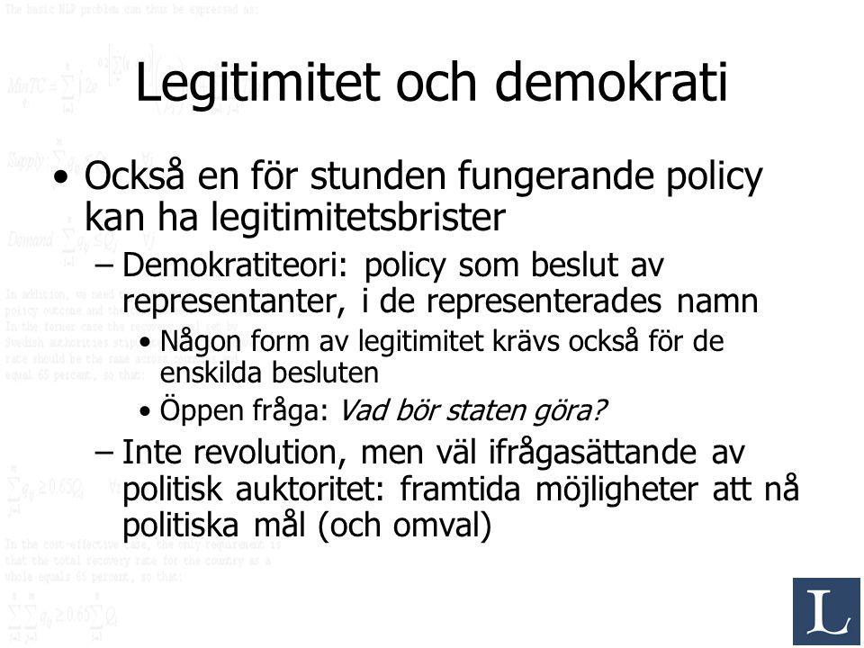 Legitimitet och demokrati Också en för stunden fungerande policy kan ha legitimitetsbrister –Demokratiteori: policy som beslut av representanter, i de