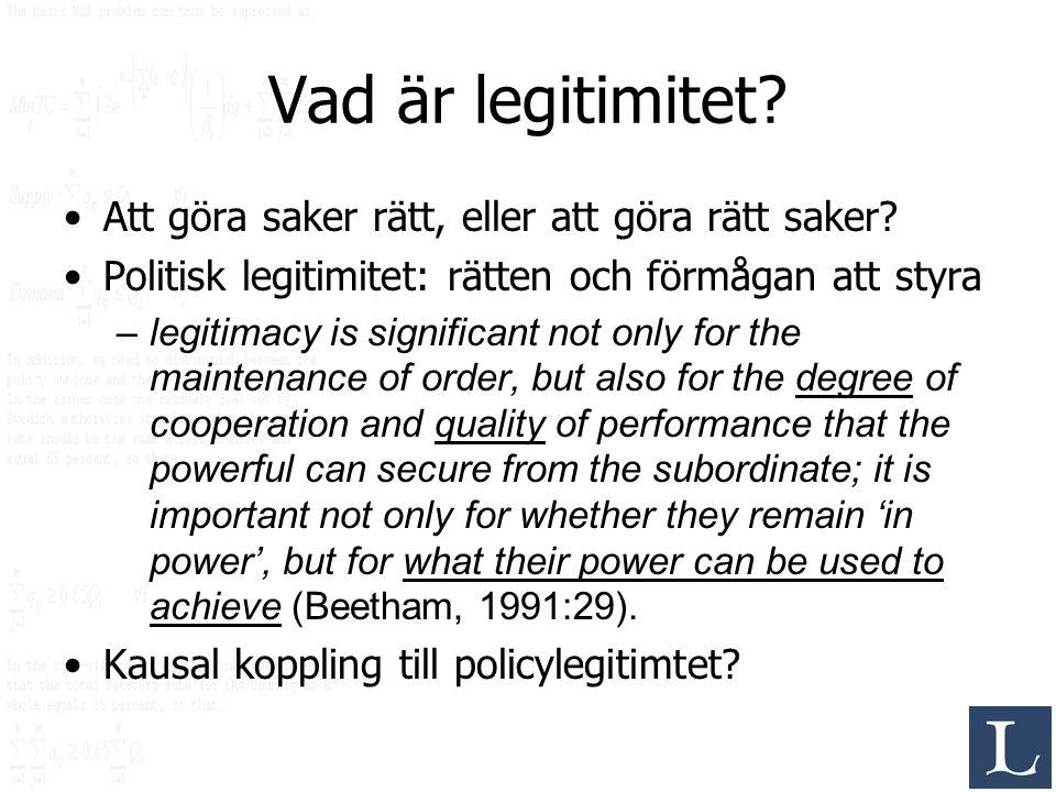 Vad är legitimitet? Att göra saker rätt, eller att göra rätt saker? Politisk legitimitet: rätten och förmågan att styra –legitimacy is significant not