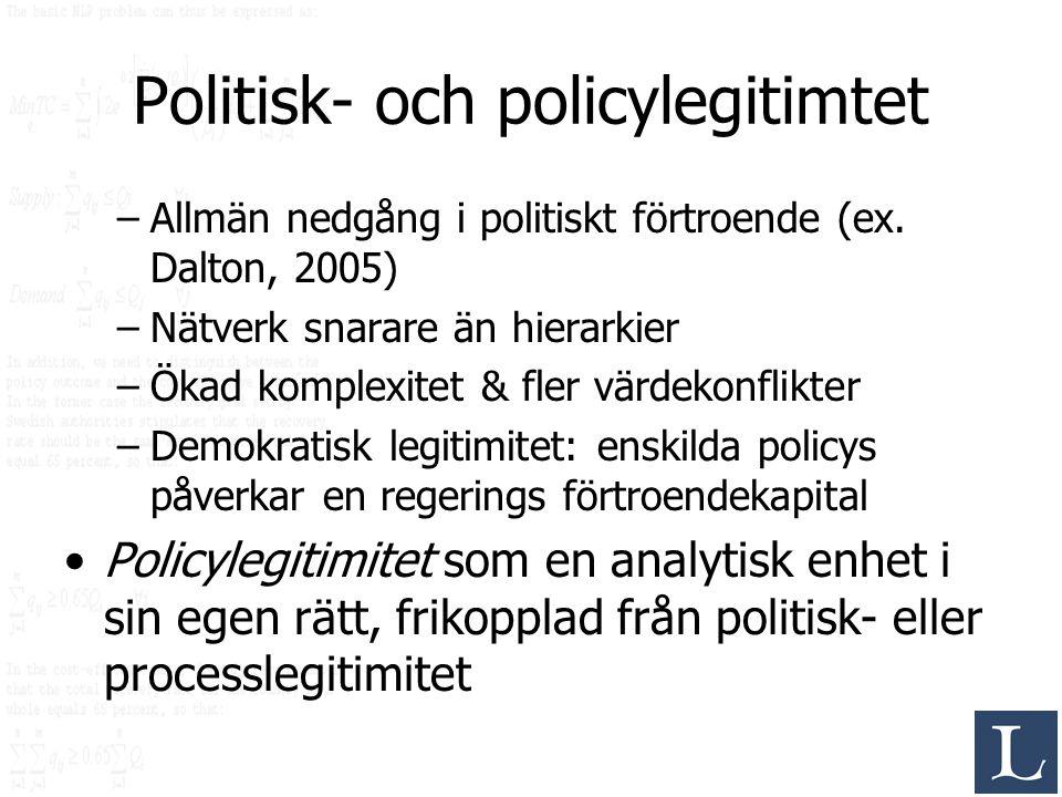 Politisk- och policylegitimtet –Allmän nedgång i politiskt förtroende (ex. Dalton, 2005) –Nätverk snarare än hierarkier –Ökad komplexitet & fler värde