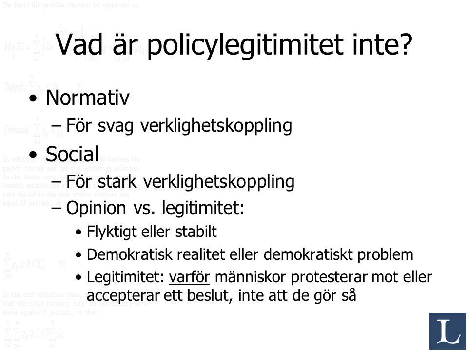 Vad är policylegitimitet inte? Normativ –För svag verklighetskoppling Social –För stark verklighetskoppling –Opinion vs. legitimitet: Flyktigt eller s