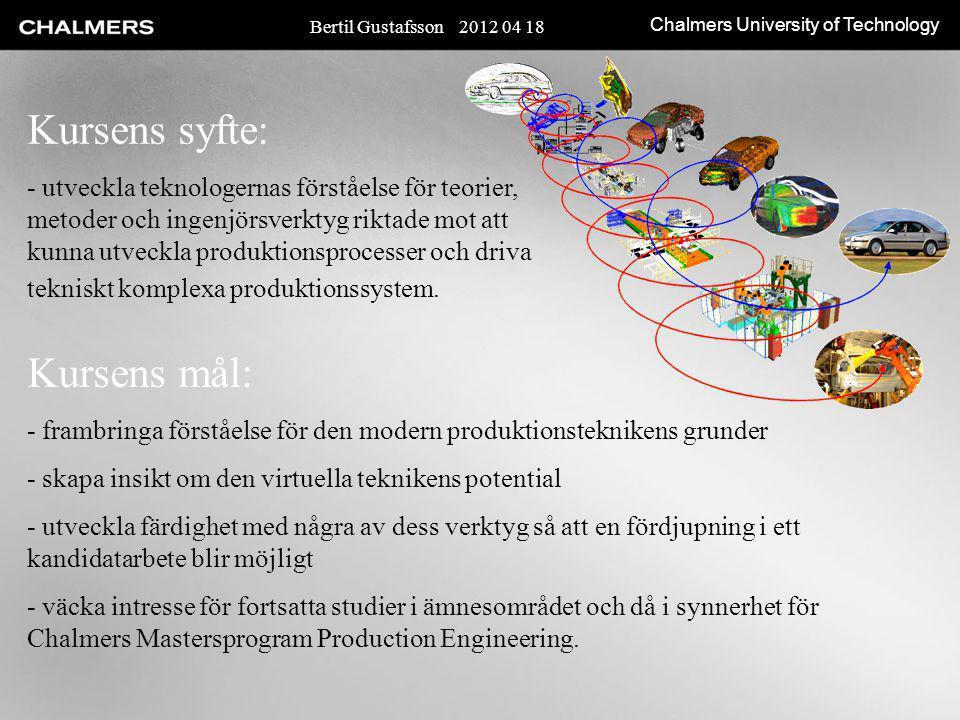 Chalmers University of Technology Kursens syfte: - utveckla teknologernas förståelse för teorier, metoder och ingenjörsverktyg riktade mot att kunna u