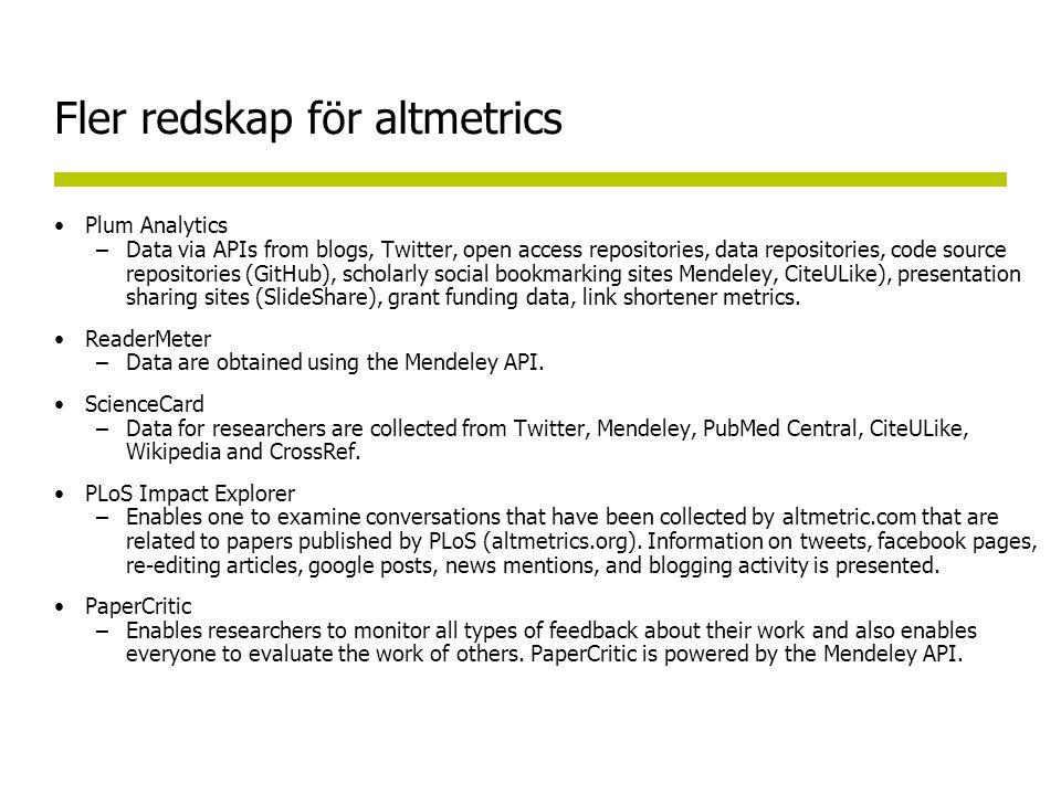 Fler redskap för altmetrics Plum Analytics –Data via APIs from blogs, Twitter, open access repositories, data repositories, code source repositories (GitHub), scholarly social bookmarking sites Mendeley, CiteULike), presentation sharing sites (SlideShare), grant funding data, link shortener metrics.