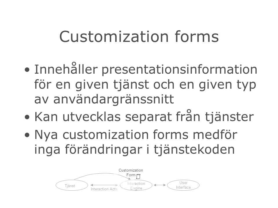Customization forms Innehåller presentationsinformation för en given tjänst och en given typ av användargränssnitt Kan utvecklas separat från tjänster Nya customization forms medför inga förändringar i tjänstekoden Tjänst Interaction Engine User Interface Interaction Acts Customization Form