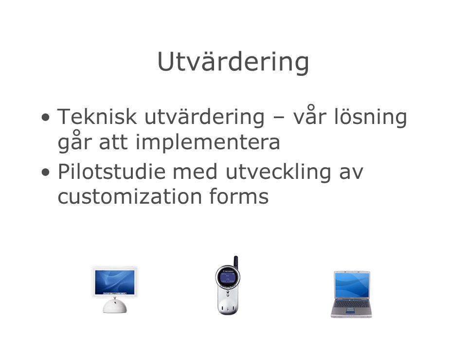 Utvärdering Teknisk utvärdering – vår lösning går att implementera Pilotstudie med utveckling av customization forms