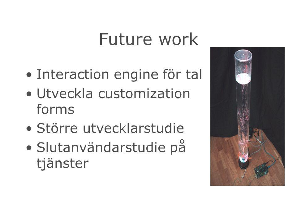 Future work Interaction engine för tal Utveckla customization forms Större utvecklarstudie Slutanvändarstudie på tjänster