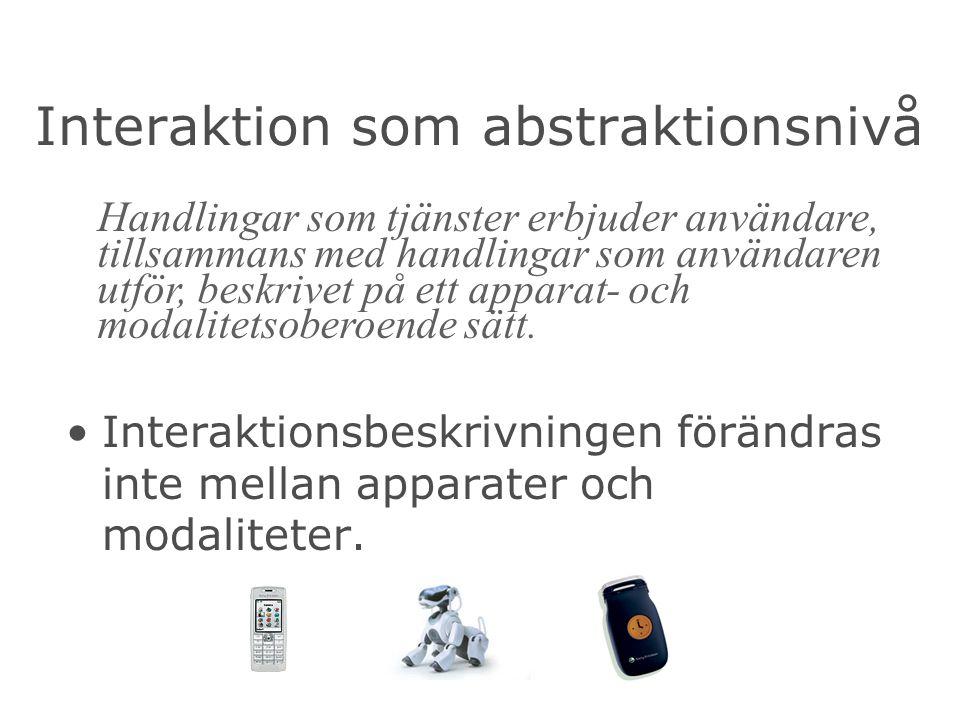 Interaktion som abstraktionsnivå Interaktionsbeskrivningen förändras inte mellan apparater och modaliteter.