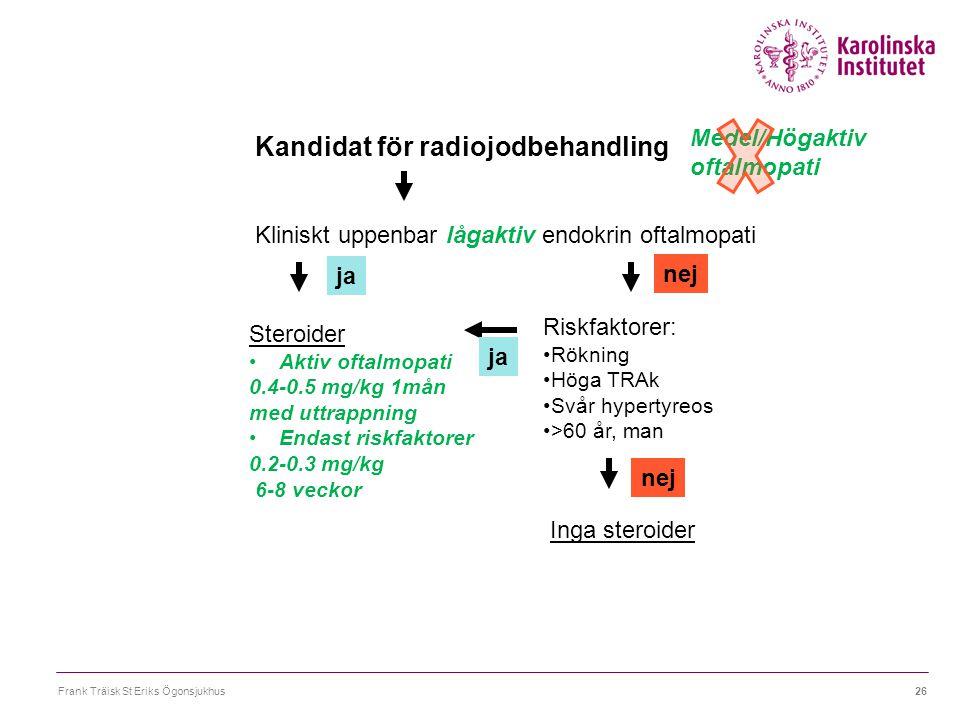 Frank Träisk St Eriks Ögonsjukhus26 Kandidat för radiojodbehandling Kliniskt uppenbar lågaktiv endokrin oftalmopati Steroider Aktiv oftalmopati 0.4-0.