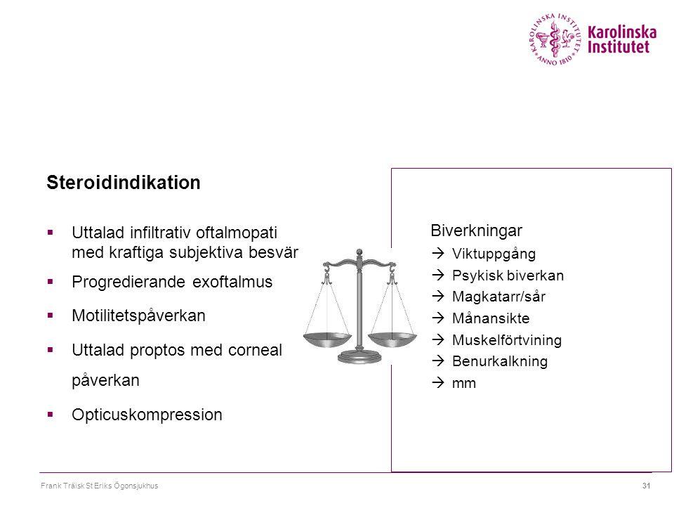 Frank Träisk St Eriks Ögonsjukhus31 Steroidindikation  Uttalad infiltrativ oftalmopati med kraftiga subjektiva besvär  Progredierande exoftalmus  M