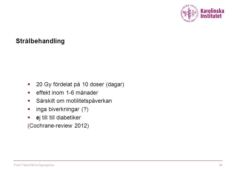 Frank Träisk St Eriks Ögonsjukhus33 Strålbehandling  20 Gy fördelat på 10 doser (dagar)  effekt inom 1-6 månader  Särskilt om motilitetspåverkan 