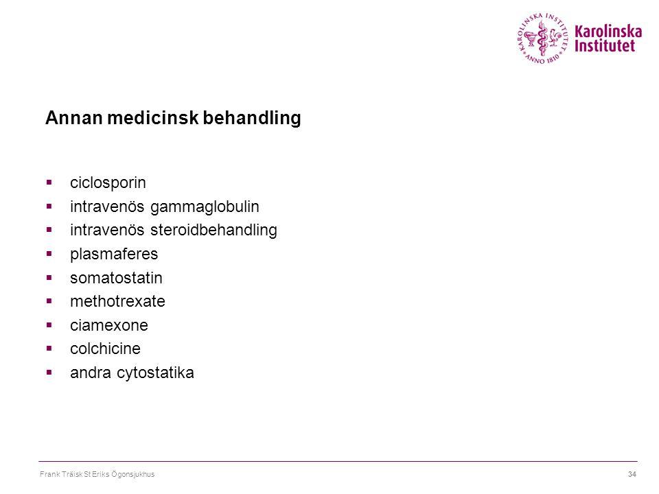 Frank Träisk St Eriks Ögonsjukhus34 Annan medicinsk behandling  ciclosporin  intravenös gammaglobulin  intravenös steroidbehandling  plasmaferes 
