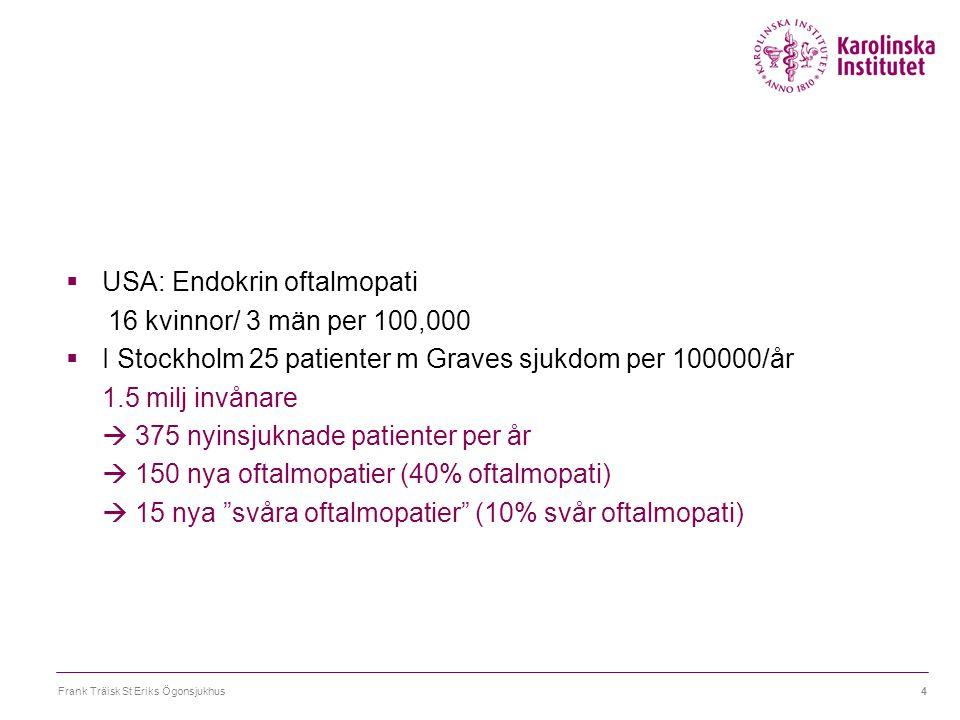 Frank Träisk St Eriks Ögonsjukhus4  USA: Endokrin oftalmopati 16 kvinnor/ 3 män per 100,000  I Stockholm 25 patienter m Graves sjukdom per 100000/år
