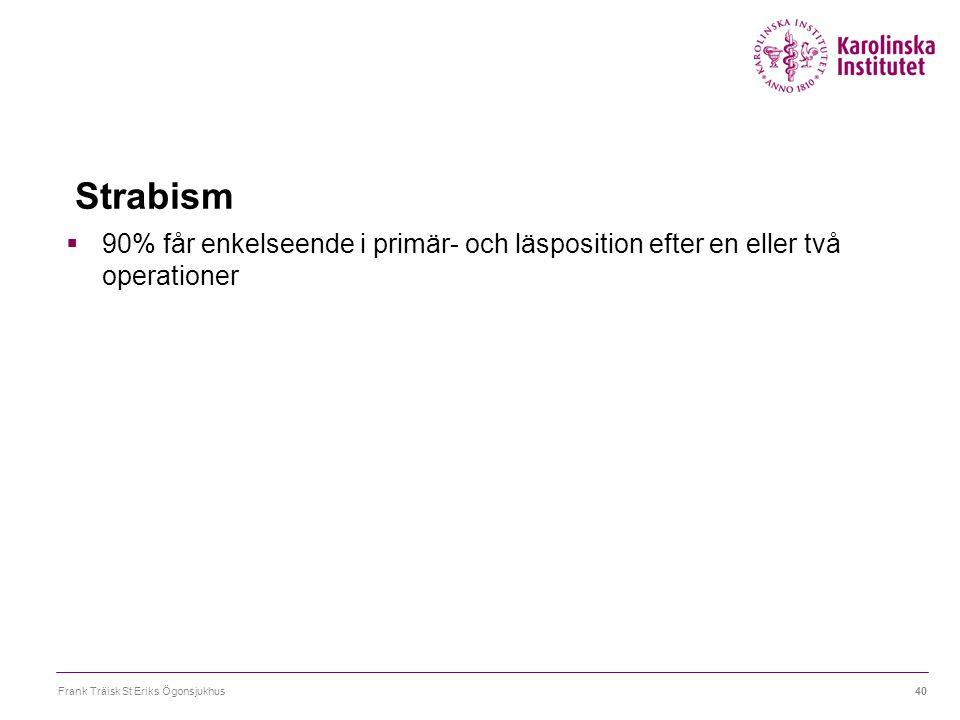 Frank Träisk St Eriks Ögonsjukhus40  90% får enkelseende i primär- och läsposition efter en eller två operationer Strabism