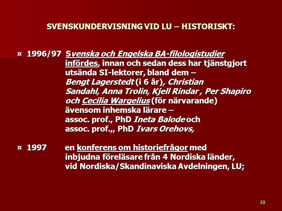 10 SVENSKUNDERVISNING VID LU – HISTORISKT: ¤ 1996/97 Svenska och Engelska BA-filologistudier infördes, innan och sedan dess har tjänstgjort infördes,