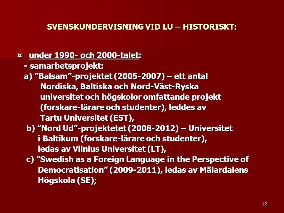 """12 SVENSKUNDERVISNING VID LU – HISTORISKT: ¤ under 1990- och 2000-talet: - samarbetsprojekt: - samarbetsprojekt: a) """"Balsam""""-projektet (2005-2007) – e"""