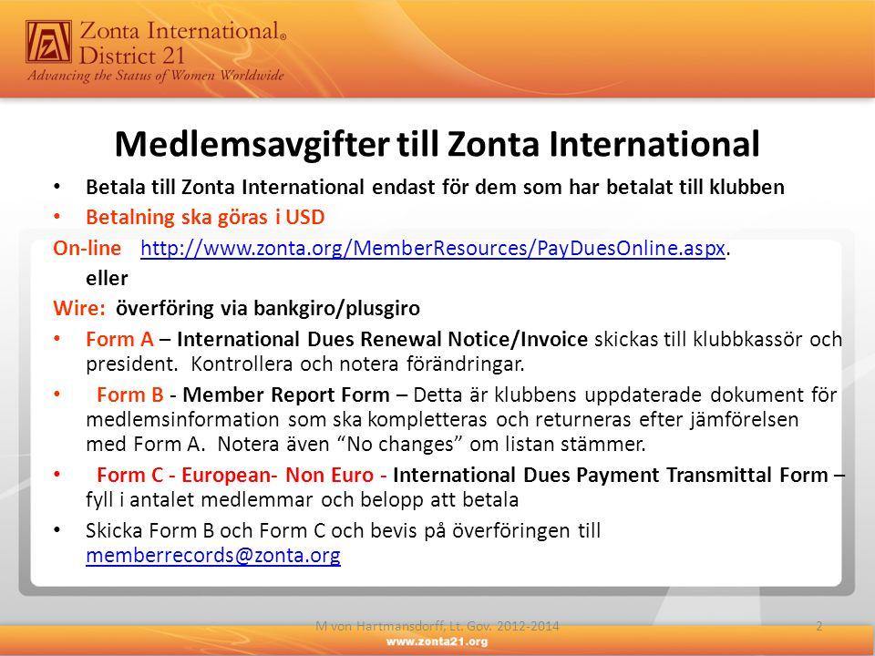 Betala till Zonta International endast för dem som har betalat till klubben Betalning ska göras i USD On-linehttp://www.zonta.org/MemberResources/PayDuesOnline.aspx.http://www.zonta.org/MemberResources/PayDuesOnline.aspx eller Wire: överföring via bankgiro/plusgiro Form A – International Dues Renewal Notice/Invoice skickas till klubbkassör och president.