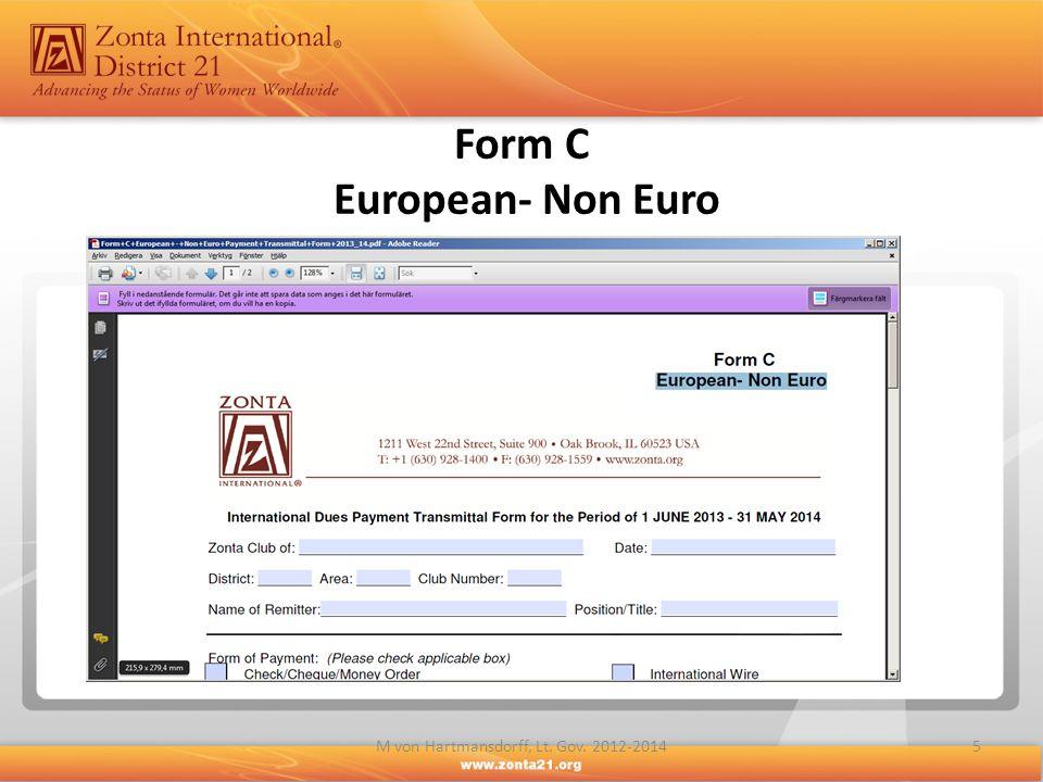 Form C European- Non Euro 5M von Hartmansdorff, Lt. Gov. 2012-2014