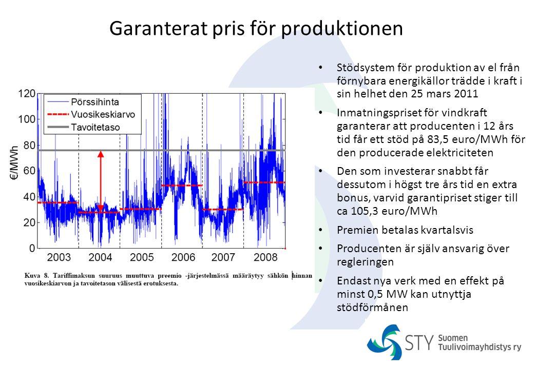 Garanterat pris för produktionen Stödsystem för produktion av el från förnybara energikällor trädde i kraft i sin helhet den 25 mars 2011 Inmatningspr