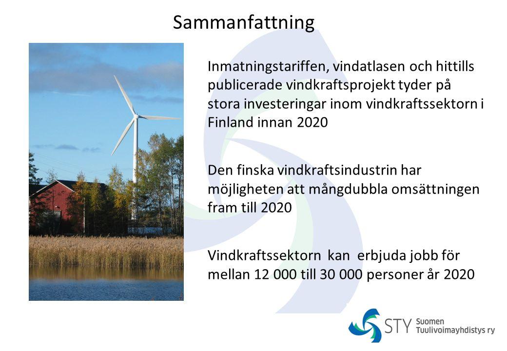 Sammanfattning Inmatningstariffen, vindatlasen och hittills publicerade vindkraftsprojekt tyder på stora investeringar inom vindkraftssektorn i Finlan