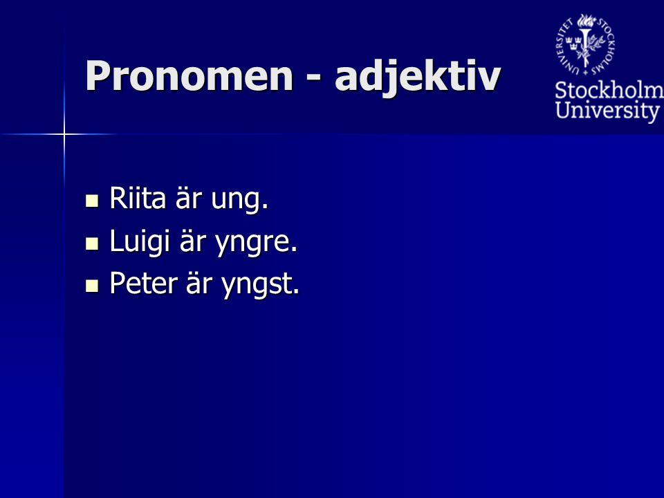 Riita är ung. Riita är ung. Luigi är yngre. Luigi är yngre. Peter är yngst. Peter är yngst. Pronomen - adjektiv