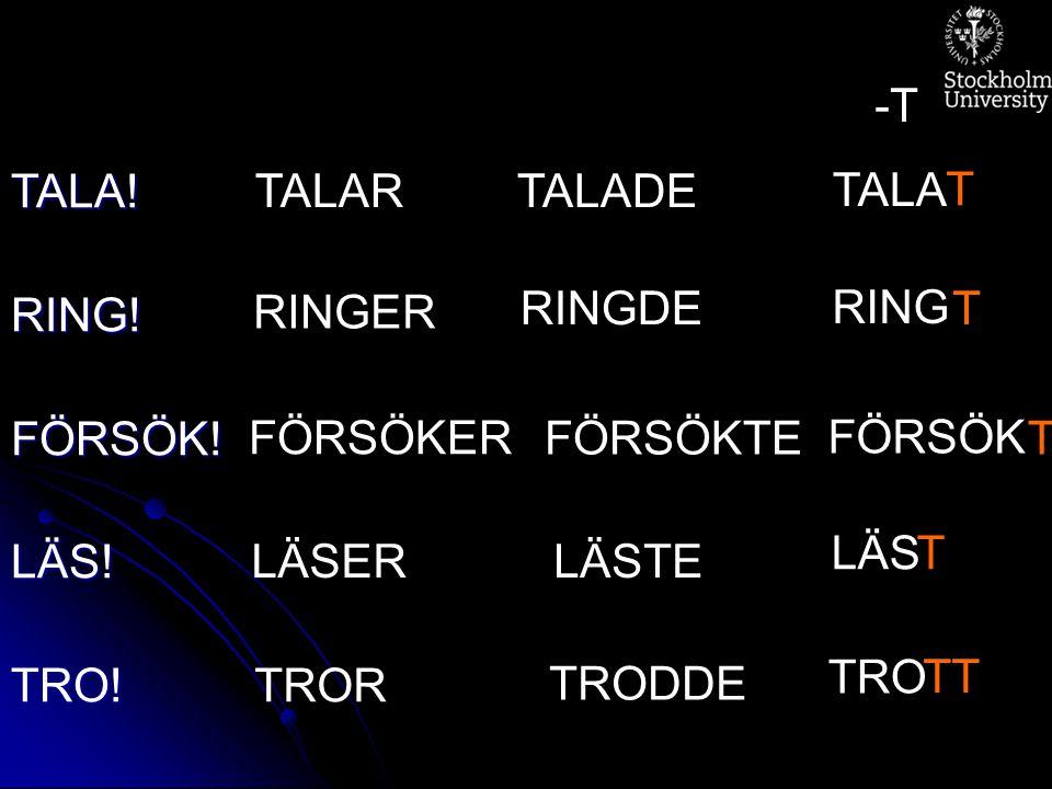 TALA!RING!FÖRSÖK!LÄS!TRO! TALARTALADE TALA T -T RINGER RINGDE RING T FÖRSÖKER FÖRSÖKTE FÖRSÖK T LÄSERLÄSTE LÄST TROR TRODDE TRO TT