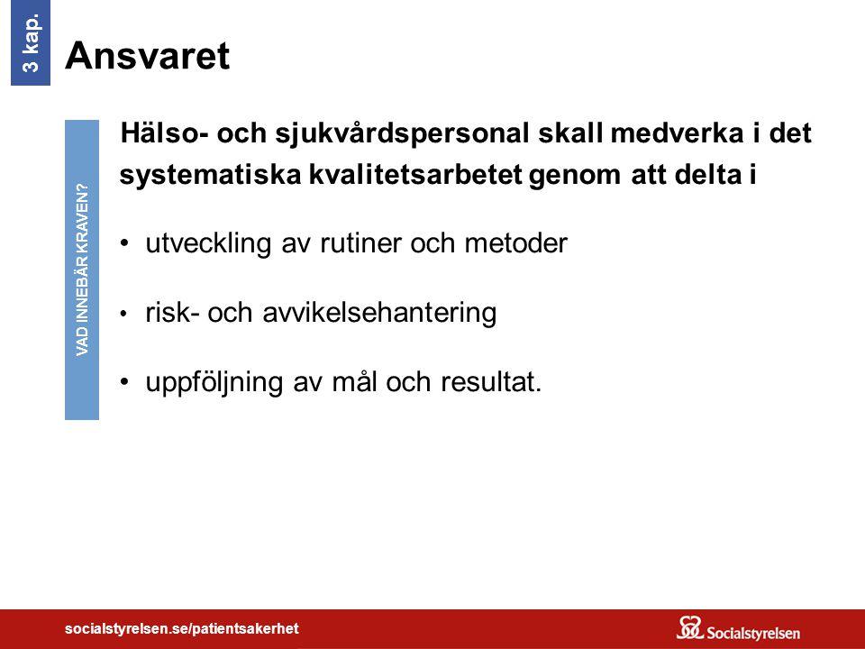 socialstyrelsen.se/patientsakerhet Ansvaret Hälso- och sjukvårdspersonal skall medverka i det systematiska kvalitetsarbetet genom att delta i utveckling av rutiner och metoder risk- och avvikelsehantering uppföljning av mål och resultat.