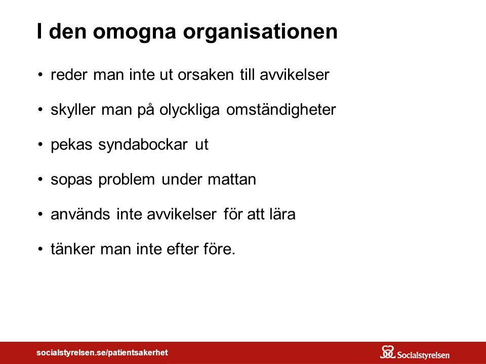 Vårdpersonalen Kommunikation Utbildning Arbetsmiljö Utrustning Apparatur Rutiner Riktlinjer Barriärer Skydd Etc.