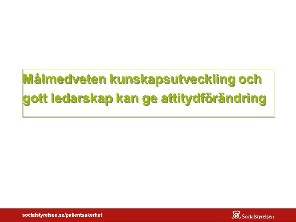 socialstyrelsen.se/patientsakerhet Målmedveten kunskapsutveckling och gott ledarskap kan ge attitydförändring