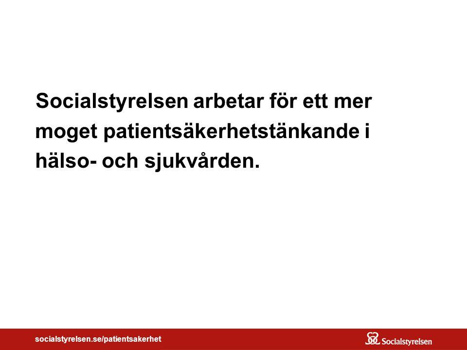 socialstyrelsen.se/patientsakerhet Socialstyrelsen arbetar för ett mer moget patientsäkerhetstänkande i hälso- och sjukvården.