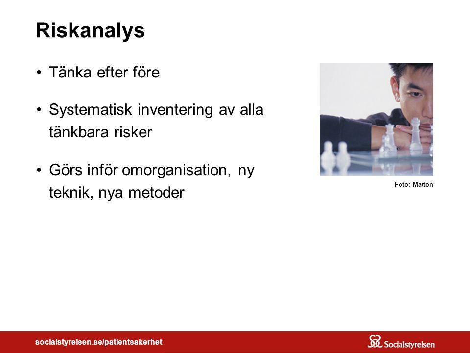 socialstyrelsen.se/patientsakerhet Riskanalys Tänka efter före Systematisk inventering av alla tänkbara risker Görs inför omorganisation, ny teknik, nya metoder Foto: Matton