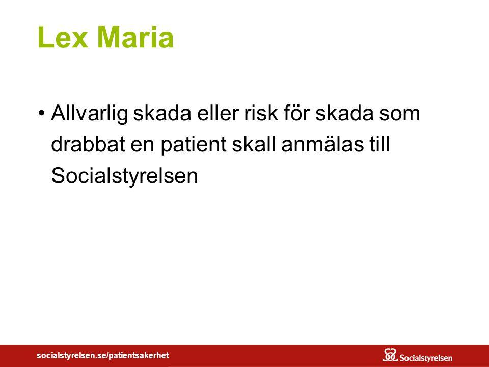 socialstyrelsen.se/patientsakerhet Lex Maria Allvarlig skada eller risk för skada som drabbat en patient skall anmälas till Socialstyrelsen