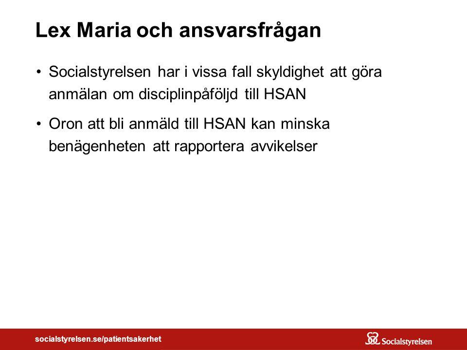 socialstyrelsen.se/patientsakerhet Lex Maria och ansvarsfrågan Socialstyrelsen har i vissa fall skyldighet att göra anmälan om disciplinpåföljd till HSAN Oron att bli anmäld till HSAN kan minska benägenheten att rapportera avvikelser