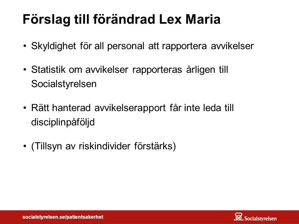 socialstyrelsen.se/patientsakerhet Förslag till förändrad Lex Maria Skyldighet för all personal att rapportera avvikelser Statistik om avvikelser rapporteras årligen till Socialstyrelsen Rätt hanterad avvikelserapport får inte leda till disciplinpåföljd (Tillsyn av riskindivider förstärks)