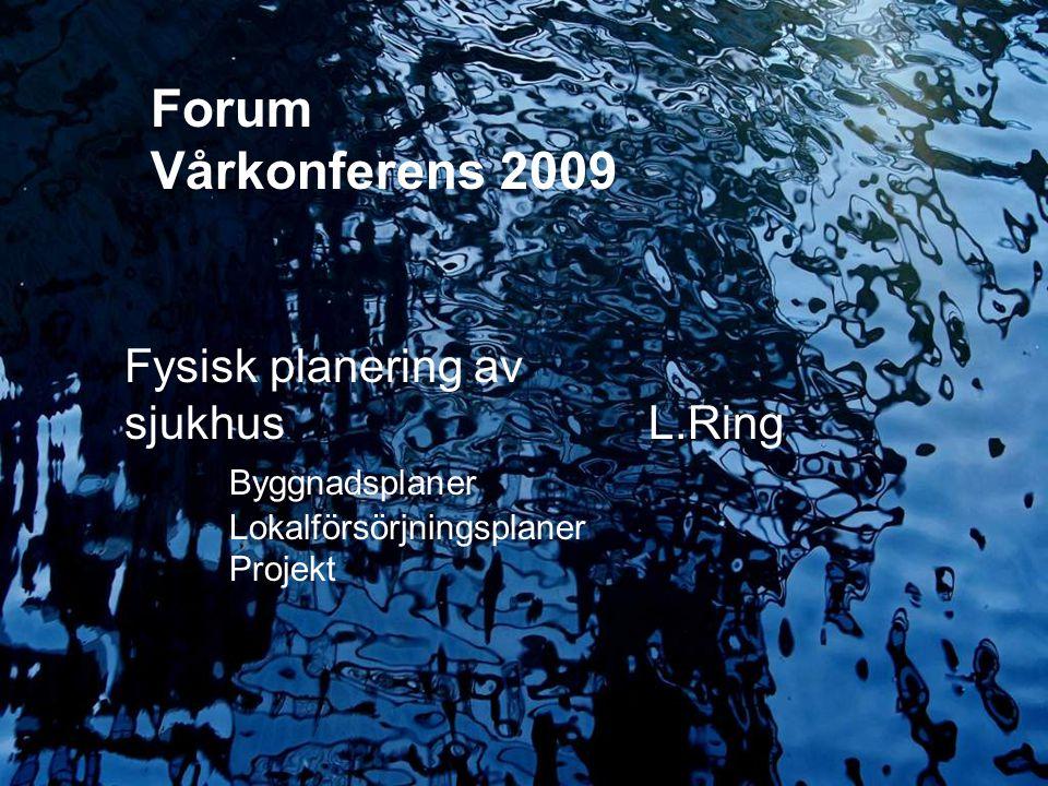 2009.05.13/L.Ring Erfarenheter från olika utsiktspunkter Lennart Ring Fysisk planering av sjukhus L.Ring Byggnadsplaner Lokalförsörjningsplaner Projek