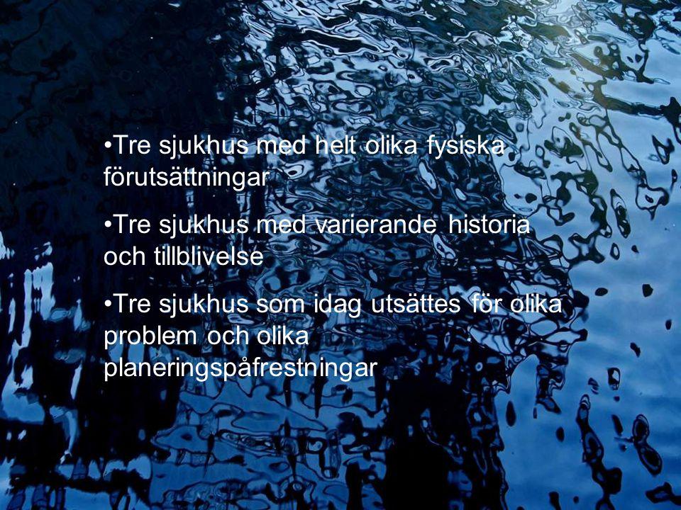 2009.05.13/L.Ring 35 år med sjukhusplanering Erfarenheter från olika utsiktspunkter Lennart Ring Tre sjukhus med helt olika fysiska förutsättningar Tr